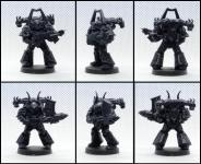 Velitel Chaos Space Marines (nahoře) + Heavy Chaos Space Marine (dole)